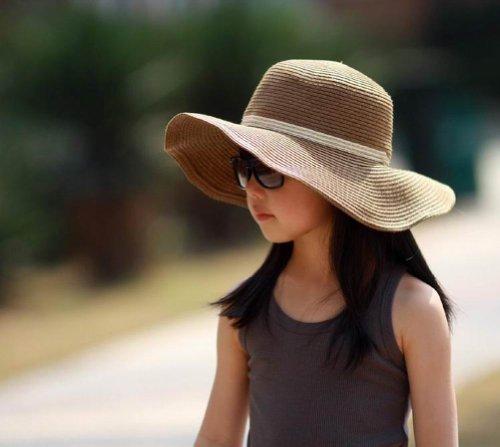 Hee Fly Girl's Foldable Straw Beach Sun Hat