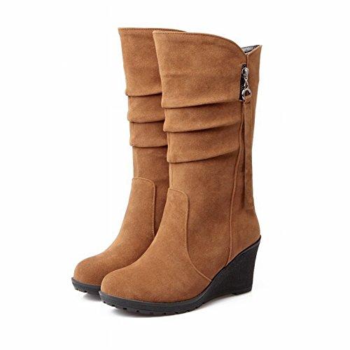 Cabeza Redonda Femenina Color Puro Cálido en Las Botas Pendiente Escarchada con Botas de Zapatos , marrón claro , EUR38