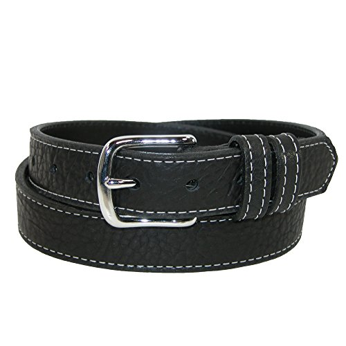 Boston Leather Men's Grizzley Bison Leather with Contrast Stitch Belt, 32, - Boston Belt Genuine