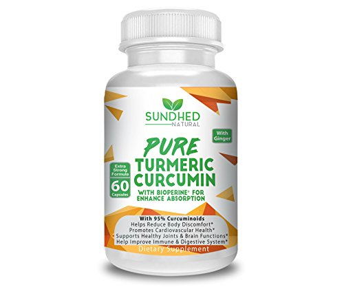 Sundhed Natural Pure Turmeric Curcumin Capsules (60 Caps) – All Natural Turmeric Supplement with 95% Standardized Curcuminoids – Powerful Turmeric Pills, Total Joint Support Turmeric Supplements