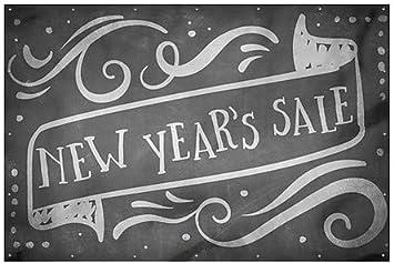 12x8 Chalk Banner Wind-Resistant Outdoor Mesh Vinyl Banner New Years Sale CGSignLab