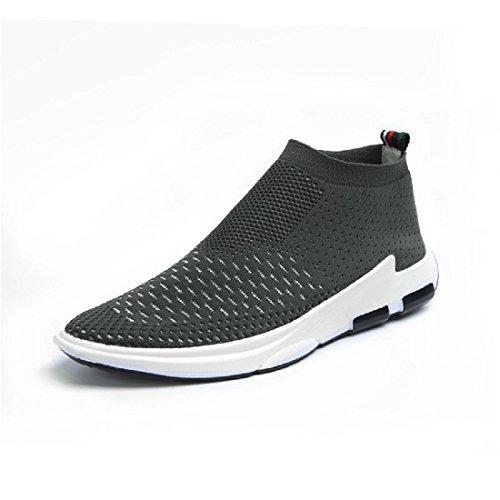 Hombres Zapatos de ocio Respirable elasticidad Casa Zapatos casuales Zapatos planos Zapatos perezosos Grey