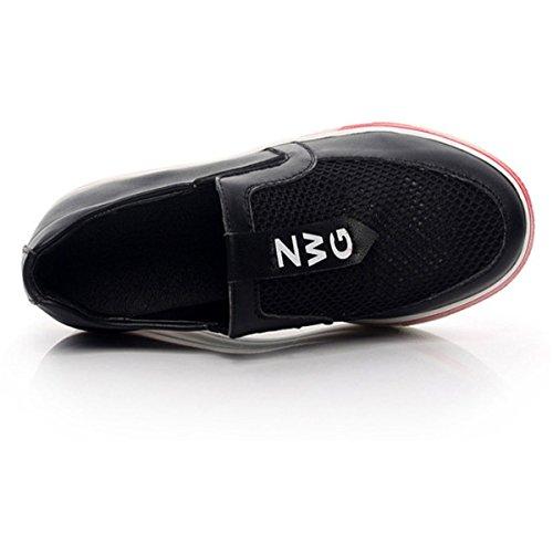 Trois Cuir New Baskets Femme Rouge Nouvelle Fanessy Chaussures Blanc Compensé Talon Couleurs Respirant Fermeture Noir Mode Lacets En Sport Ajourée De Transparent Style nR4Ix6Iqd