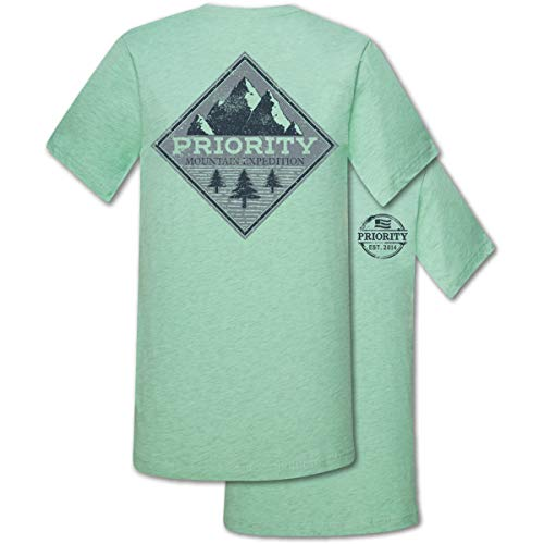 Mountain Expedition Heather Prism Mint Cotton Fabric Novelty T-Shirt ()