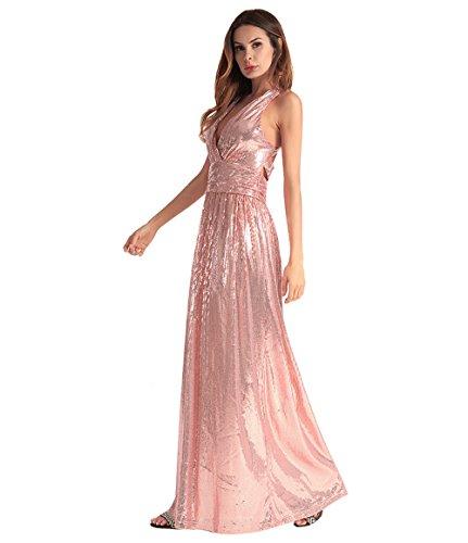 Donna Sera Per Party Rosso Scollo Vita Cocktail Nero Rosa Da A Maxi Lungo Sexy rosa Bassa Ballo Vestito V pxwE5q6Rn