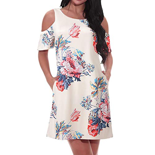 - ◐OFEFAN◑ Women's Summer Cold Shoulder Tunic Top Swing T-Shirt Loose Dress with Pockets