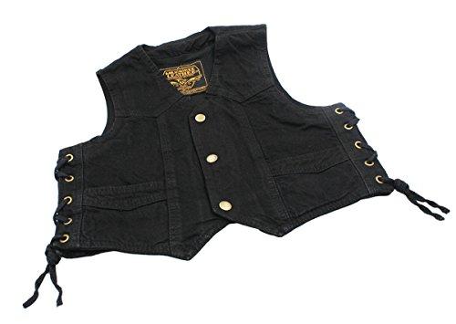 Unisex kids/Toddlers Denim Side Lace Quality Outerwear Biker Vest _Black_Large (Biker Kids Sweatshirt)