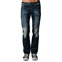 Dinamit Men's Five Pocket Classic Distressed Jeans with a Broken-in Look 34