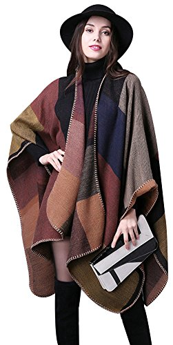 - ilishop Women's Winter Reversible Oversized Blanket Poncho Cape Shawl Cardigans Khaki Free