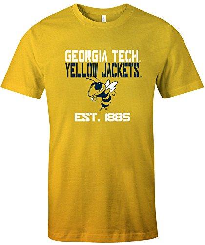 NCAA Georgia Tech Est Stack Jersey Short Sleeve T-Shirt, Gold,Medium