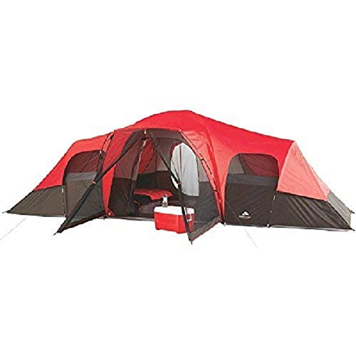 OZARK Trail Family Camping Tent (Sleep 10, Red/Black)