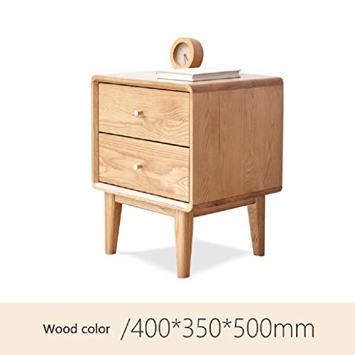 WAHE Solid Wood Bedside Table Oak Modern Minimalist Bedroom 400350500MM (Wood Color) ()