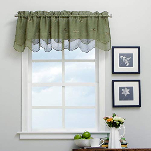 Single Piece Olive 52 Inch Wide And 16 Inch Long Valance, Embroidered Valance, Scallop Type, Rod Pocket, Traditional Style, Scalloped Valance, Polyester Material, Linen Material, Dark Green (Patriot Valance)
