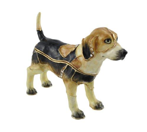 Studded White Snap (Beagle Puppy Jewel Studded Snap Closure Jewelry/Trinket Box Figurine)