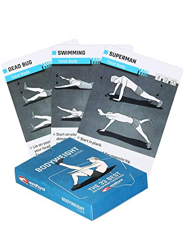 Windhund 33 Bodyweight Calisthenics Exercise Cards for Home Gym, Training and Workouts for Legs, Arms, Chest, Abs, Core with Visual Instructions