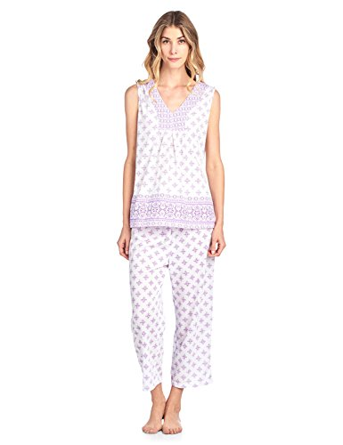 Flower Capri Set - Casual Nights Women's Printed Sleeveless Tank Top & Capri Pajama Set - Purple - XX-Large