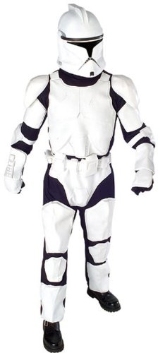 Star Wars Deluxe Clone Trooper Costume With Body Armor Gloves And Mask, White/Black, -