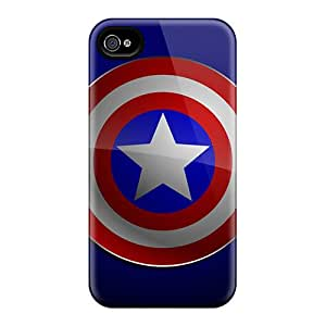 Tpu OscarAPaz Shockproof Scratcheproof Captain America Logo Hard Case Cover For Iphone 4/4s