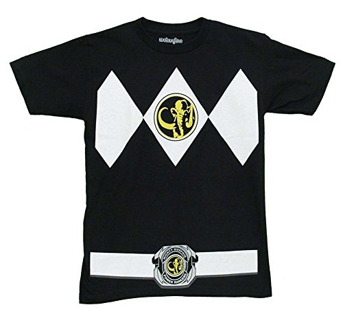 Mighty Morphin Power Ranger Costumes For Adults (Mighty Morphin Power Rangers Black Ranger Costume Adult T-shirt (X-Large))