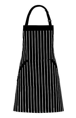 Adjustable Bib Apron with Pockets – Extra Long Ties, Commercial Grade, Unisex – Black/White Pinstripe (33 x 27 Inches) – Homwe