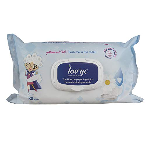 Lov'yc Natte doekjes toiletpapier, 80U, met kamille, biologisch afbreekbaar