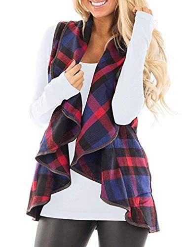 Pattern Vest Crochet - YIOIOIO Womens Plaid Vest Sleeveless Open Front Hem Cardigan Jackets Vest
