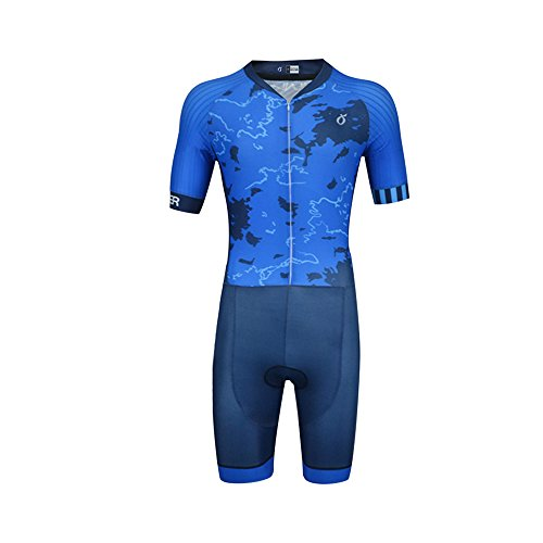(EMONDER Men's Triathlon Suit Elite Aero Short Sleeve Zipper Tri Suit Bike Swim Run (Large))