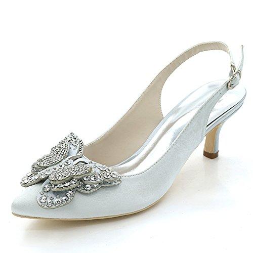 da Scarpe Satin Strass Pointed Party Avorio Sposa Silver Tacco Fiori Nuziale 6cm New Elobaby Donna da Bianco 5UdSw5xY