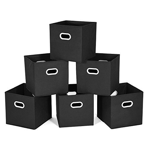 MaidMAX Cloth Storage Bins Cubes Baskets Containers with Dual Plastic Handles for Home Closet Bedroom Drawers Organizers, Flodable, Black, Set of 6