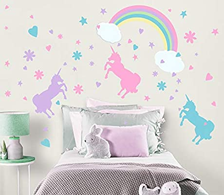 Create-A-Mural Unicorn Wall Decal Girls Room Wall Decor Art n\' Rainbow &  Clouds [102 Piece Set] Decoration for Kids Room Walls -Toddlers Removable  ...