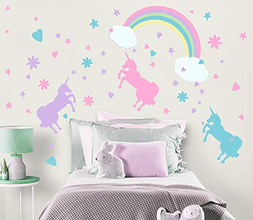 Mural Wall Unicorn - Create-A-Mural Unicorn Wall Decal Girls Room Wall Decor Art n' Rainbow & Clouds [102 Piece Set] Decoration for Kids Room Walls -Toddlers Removable Nursery Vinyl Wall Clings