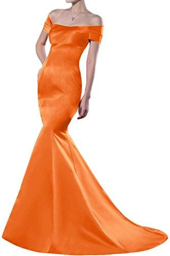 Homecoming raso Gowns the Arancione Mermaid Sunvary spalla sera da lungo Off per abiti 4wvIq