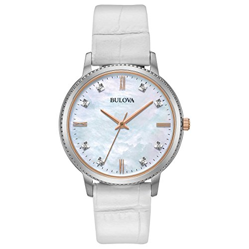 Bulova 98P171 8 Diamonds White Mother of Perl Dial White Leather