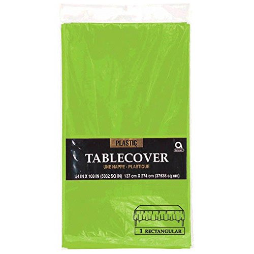 Theme Green - Reusable Plain Rectangular Table Cover Party Tableware, 1 Pieces, Made from Plastic, Kiwi, 54