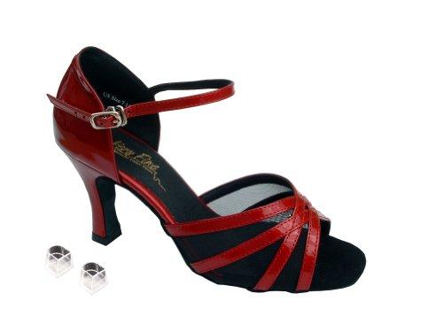 Scarpe Da Ballo Da Ballo Da Donna Da Donna Molto Eleganti Ek6027 Con Brevetto 2.5 Tallone Rosso E Rete Nera
