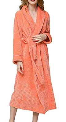 XTX Women's Flannel Bathrobe Nightwear Thick Nightgown Spa Robe