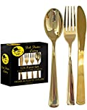 126 Pieces Gold Plastic Silverware Set | Disposable Flatware - Includes 42 Forks, 42 Knives, 42 Spoons | Durable Heavyweight by Posh Plastics Cutlery