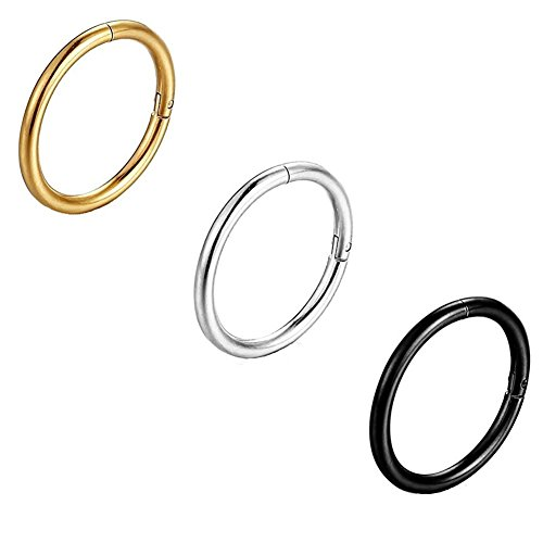 3PCS Stainless Steel Seamless Nose Ring Hinged Body Piercing Small Earrings Hoop Clicker Ring for Women or Men 8-12MM (Seamless Nose Ring)