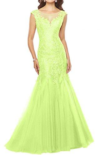 Damen Promkleider Charmant U Lang Lemon Meerjungfrau Glamour Ausschnitt Brautmutterkleider Gruen Partykleider Spitze 1qqw4C