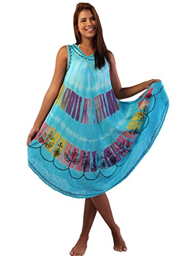Soft Rayon Casual Hand Tie Dye Neck Ari Short Beach Dress Tunic Coverup (One Size, Blue)