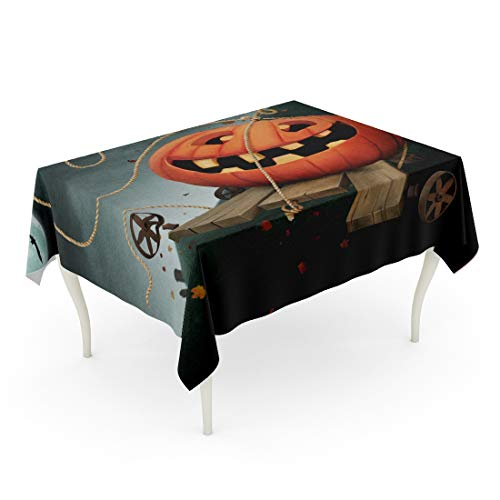 Tarolo Rectangle Tablecloth 52 x 70 Inch Board Holiday Fun Pumpkin for Autumn of Halloween Book Break Cartoon Catch Celebration Table Cloth]()