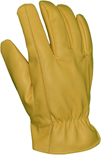 Azusa Safety DS-001 Deer Saver Work Gloves, Synthetic Vegan Leather, Yellow, Large (1 Pair)