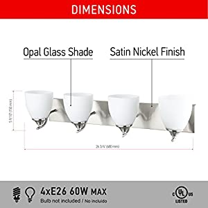 IN HOME 4-Light VANITY/BATHROOM FIXTURE VF42, Satin Nickel Finish with Opal Glass Shade, UL listed
