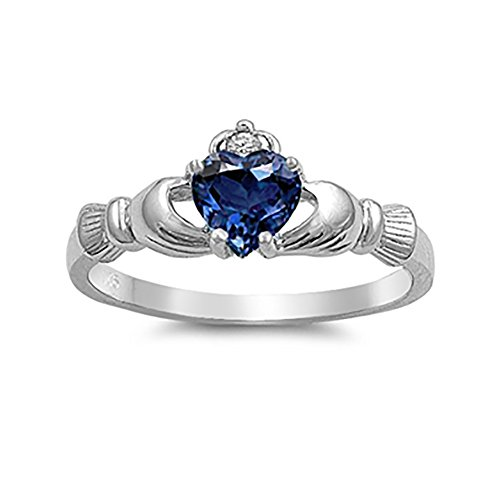 Irish Claddagh Heart Promise Ring Simulated Blue Sapphire Round CZ 925 Sterling Silver, Size-7 ()