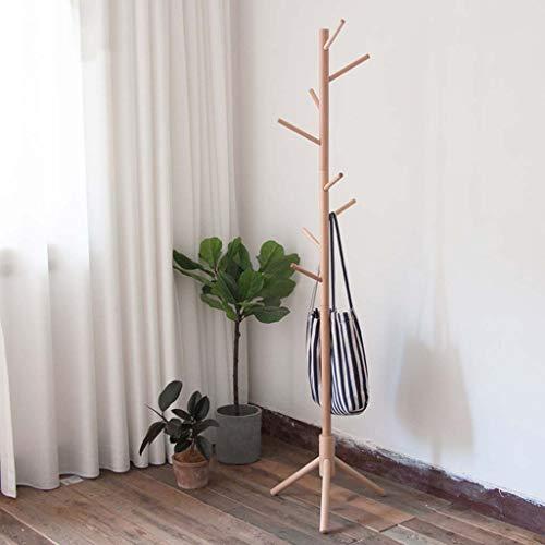 Stand Smc - SMC Nordic Solid Wood Floor Coat Rack Beech Wood Horizontal Bar Type Japanese Simple Wooden Bedroom Living Room Space Space Hanger 45X176CM