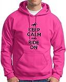 Keep Calm and Ride On Hoodie Sweatshirt Medium Heliconia