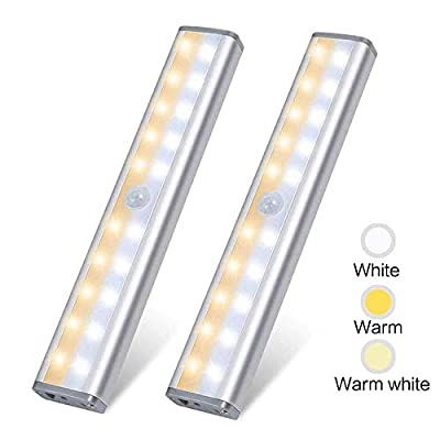 Under Cabinet Lighting,Vikano 20 LED Motion Sensor Closet Light Rechargeable,3 Color Mode Wireless Battery Operated Lights Bar for Kitchen Stair Hallway Under Counter Lighting Stick on Lights