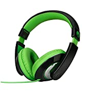 RockPapa Over Ear Stereo Headphones Earphones for Adults Kids Childs, Noise Isolating, Adjustable, Heavy Deep Bass for iPhone iPod iPad Macbook Surface MP3 DVD SmartPhones Laptop (Black/Green)