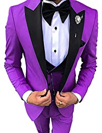 Everbeauty Mens Wedding Suits Slim Fit Three Piece Prom Suits for Men 2019 Fashion Blazer Tux EXZ029