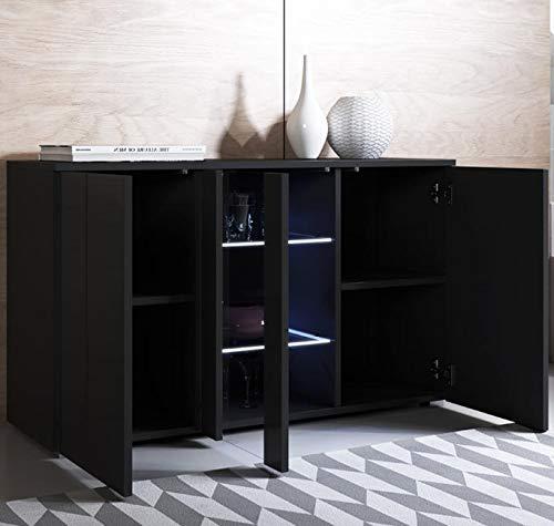 muebles bonitos Buffet modèle Luke A1 (120x72cm) Noir